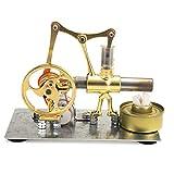 エンジン模型玩具 単気筒スターリングエンジンのモデル合金材料発達科学玩具ゴールド 自分で構築キット (Color : Gold, Size : One size)