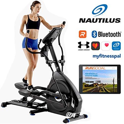 Nautilus Ellipsentrainer E626 mit 29 Trainingsprogrammen Ellippsentrainer, Bluetooth für Smartphone und Tablet, elektronische Steigungsmechanik simuliert Bergläufe