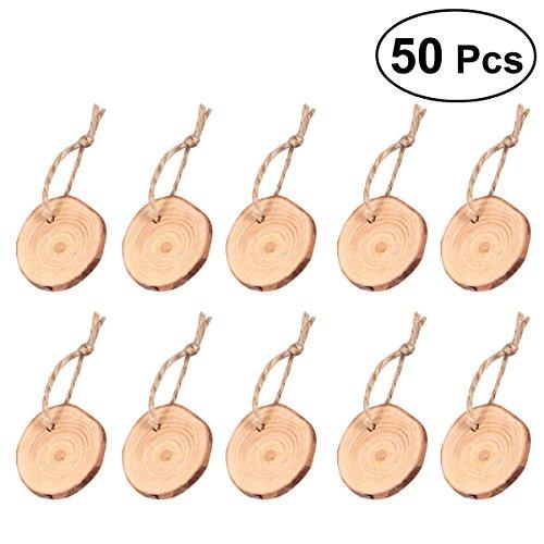 ultnice Stücke von Stamm Holz Stücke von Stamm Holz unvollendet stabilisiermittel pre-tallados Basteln 3–4cm mit Jute-Schnur, 50-Paket