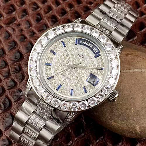 UEJDB Luxus New Men Day Date Gold Silber Full Diamonds Uhr Automatische mechanische Edelstahl Saphirglas Uhren Limited