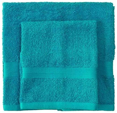 Bassetti - Juego de toallas de baño para cara y bidé Bassetti   Par de toallas de baño con invitados   60 x 110 cm + 40 x 60 cm   Color D3 – Turquesa