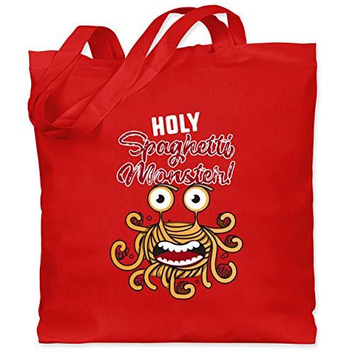 Shirtracer Statement - Holy Spaghetti Monster! - Unisize - Rot - Fun - WM101 - Stoffbeutel aus Baumwolle Jutebeutel lange Henkel