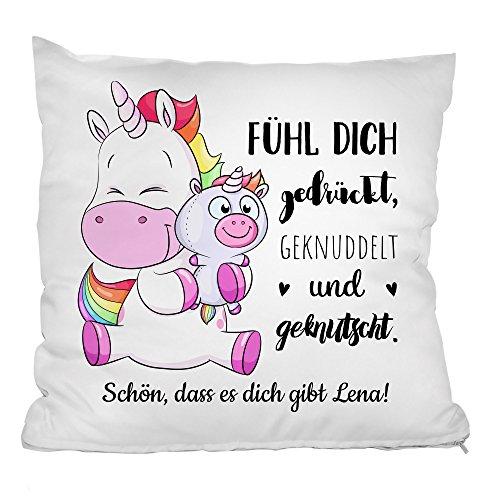 Personello® personalisiertes Einhorn Kissen (mit Name und Spruch gestalten), Einhorn Geschenk für...