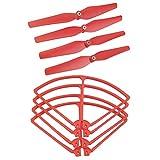 Milageto 4 hélices y marco protector para hélices para dron Syma X8C X8W X8HW X8HC – Rojo
