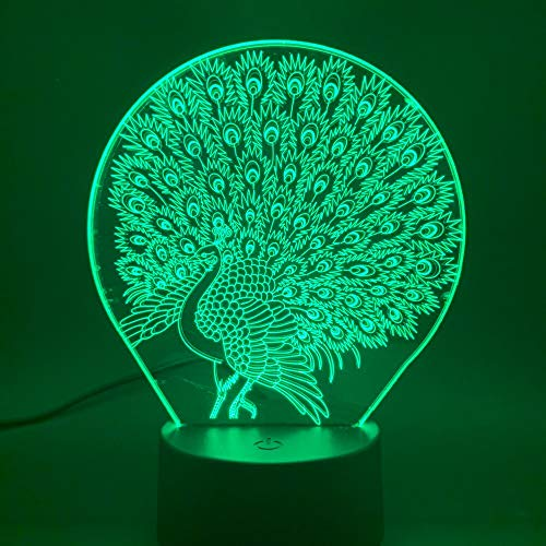 ShiyueNB Led-nachtlampje, dier, pauw voor baby's, kinderkamer, nachtlampje, 2019, sfeer, 3D-lamp, visueel lichteffect, pruik