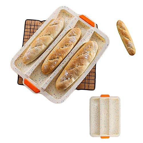CHAWHO Silikon French Bread Backblech Antihaft Baguette Backform Brot Backblech perfekt backt French-Bread, Breadstick (34 * 24 * 3cm) 1#