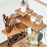 HYNAWIN 3 Tier Corner Shelf Bamboo & Metal Storage Spice Rack-Desk Bookshelf Display Shelves Space Saving Organizer -Adjustable Rack for Kitchen,Bedroom, Office-Creative Home Dcor with Hooks