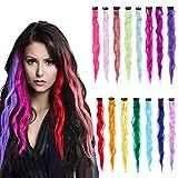Clip da 15 pezzi di Extension colorate capelli 20 pollici Clip sintetica colorata su Extension ricce per ragazze Donne Bambini per Feste Lunghe Ciocche Ricce