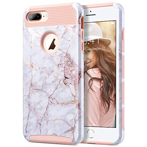 ULAK Cover iPhone 8 Plus, iPhone 7 Plus Custodia con Design Slim con Doppio Strato di Protezione Anti collisioni in Silicone Cover Case per iPhone 7/8 Plus (5.5 Pollici), Marmo Rosa