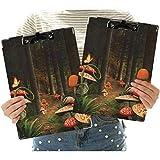 Portapapeles de perfil bajo tamaño carta de 2 piezas, setas en el bosque oscuro oscuro y fantasía naturaleza tema tierra camino mística imagen oficina portapapeles para uso en aula y oficina