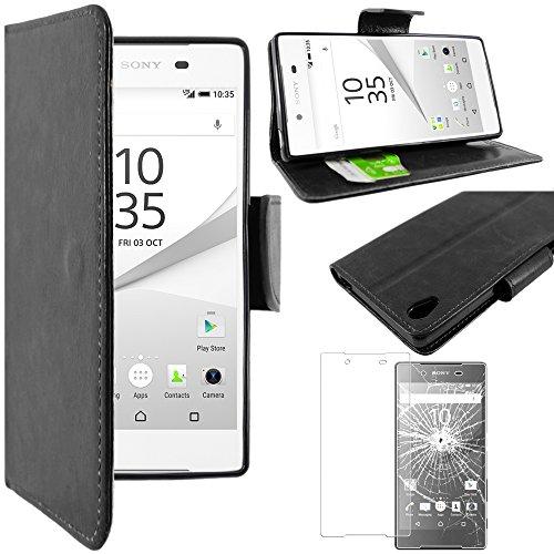 ebestStar - Coque Compatible avec Sony Xperia Z5, Z5 Dual Etui PU Cuir Housse Portefeuille Porte-Cartes Support Stand, Noir + Film Verre Trempé [NB: Lire Description][Appareil: 146x72x7.3mm, 5.2'']