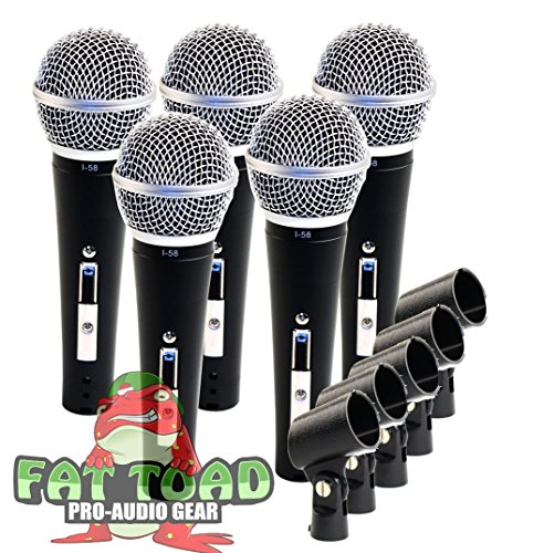Studio Recording Microphones with Clips (5 Pack) by Fat Toad|Vocal Handheld, Unidirectional Mic|Professional Cardioid Dynamic Singing Microphone Designed for Music Stage Performances or PA DJ Karaoke