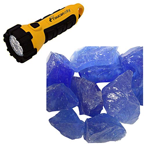 Toucan City LED Flashlight and AZ Patio Heaters 0.75 in. Ocean Blue Recycled Fire Glass RGLASS-OB