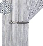 AIZESI Fadenvorhang Silber Fadengardine Fadenstore Vorhänge Schiebevorhänge Duschvorhang Wandvorhang Gardinen 90x200cm(Silver)