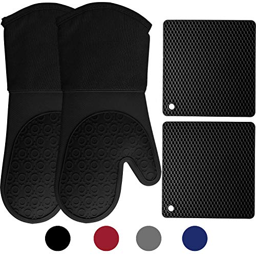 HOMWE Silicone Oven Mitts and Pot Holders, 4-Piece Set, Heavy Duty Cooking Gloves, Kitchen Counter Safe Trivet Mats, Advanced Heat Resistance, Non-Slip Textured Grip, Black