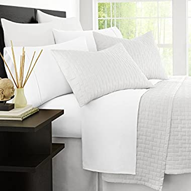 Zen Home Luxury Bed Sheets - 1500 Series Brushed Microfiber w/ Bamboo Blend Treatment Sheet Set - Eco-friendly, Hypoallergenic and Wrinkle Resistant - 4-Piece - King - White