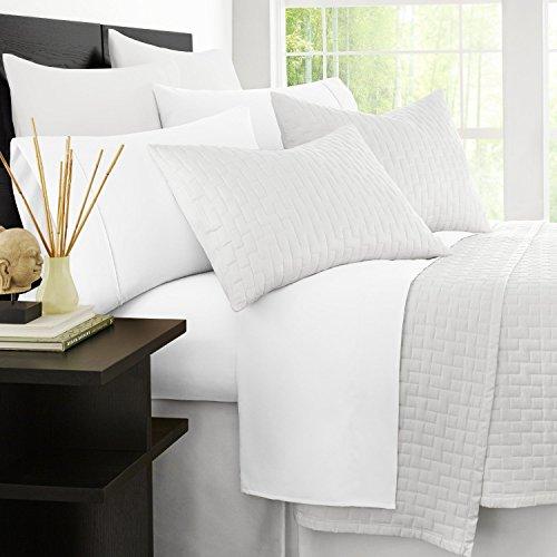 Zen bambú hojas de cama de lujo–Alta calidad Ultra suave 4piezas sábanas de bambú–hipoalergénico ecológico y resistente a las arrugas, Blanco, Queen, 1