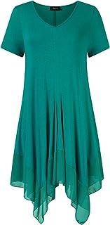 AMZ PLUS Womens Plus Size Irregular Hem Short Sleeve...