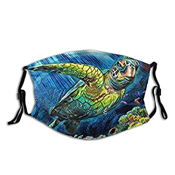 Sea Turtle Face Mask With Filter Pocket Washable Balaclava Anti-Dust Reusable Adjustable Fabric Masks With 2 Filter