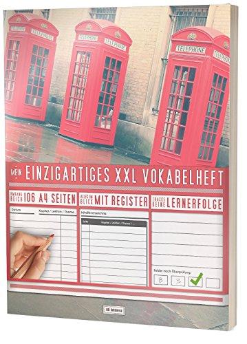 """Mein Einzigartiges XXL Vokabelheft: 100+ Seiten, 2 Spalten, Register / Lernerfolge auf jeder Seite zum Abhaken / PR101 \""""Englische Telefonzelle\"""" / DIN A4 Softcover"""