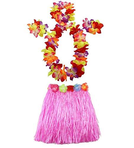 AniiKiss 1 Set 40cm Kids Party Hawaii Dress Hula Grass Skirt - Double Layer Thickened HawaiiSkirt Pink