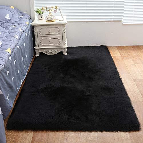 Tapijt in de woonkamer, de hele simulatie schapenvacht tapijt, kussens van de bank, vloermatten, slaapkamer, trappen, vuil, gemakkelijk te reinigen,Black,60 * 90cm