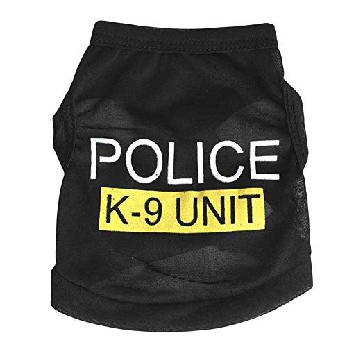 Wankd Dog Politievest, Black Police K9 vest, hondenvest, Halloweenhemd, politie, hondenkostuum, kleding voor pups, T-shirt voor kleine honden, groot, XS, Blanco Y Gris