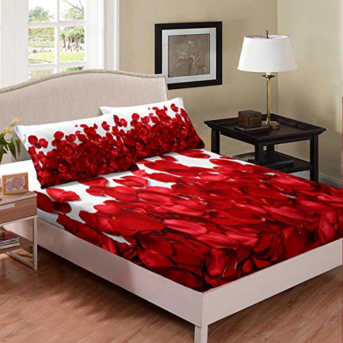 Red Lips Bedding Set Love Sheet Set Sexy Theme Adult Couple Fitted Bed Sheets 3D Kiss Marks Fitted Sheet Deep Pockets Soft Microfiber Fitted Cover,1 Fitted Sheet with 2 Pillow Cases, Queen Size