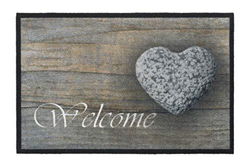 Homa F & S Mondo Felpudo Alfombra, Robusto 50 x 75 cm. 2600 g/m2. Lavable Diseño Welcome corazón. Fabricado en Europa Occidental.