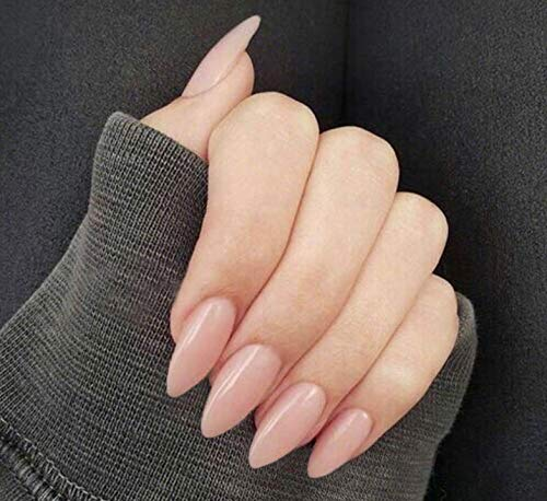 Evild Glossy Long False Nail Stiletto Full Cover Fake Nails Set Artificial Pure Color Ballerina Press on Acrylic Nails for Women and Girls(Pack of 24) (Nude)