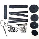4 pcs Hair Donut Bun Makers, 2 Pieces Foam Sponge Bun Shapers, 2 Pieces Magic French Twist Hairstyle Clip,2 Snap Bun Makers,1 comb, 5pcs Hair Elastic Bands, 18pcs Hair Pins (Black)