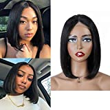 Short Bob wig Lace Front Human Hair Wigs, 10inch Straight Bob Wigs 150% Density Pre Plucked with Baby Hair,4x4 Lace Closure Wigs For Black Women Middle Part Natural Color