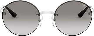نظارة شمسية نسائية ماركة فوج VO4157S دائرية معدنية غير مستقطبة، أبيض/رمادي متدرج، 51 ملم