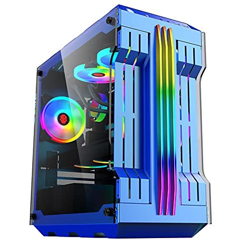 Caja para Juegos De Torre Media con Chasis De Computadora ATX con Paneles De Vidrio Templado Caja para Computadora para Juegos De PC con Sistema De Administración De Cables