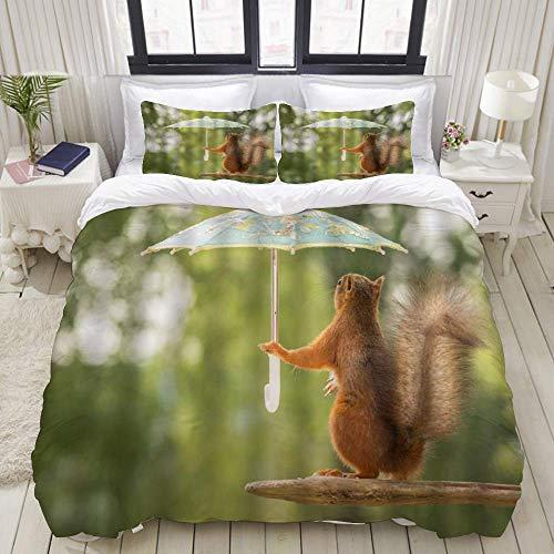 Housse de couette, écureuil mignon drôle écureuil animal tenant un parasol à la pile de bois humour scène de la nature, ensemble de literie ultra confortable ensembles de microfibre de luxe léger