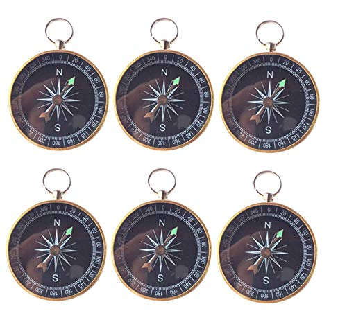 6PCS Keychain Compass Keyring for Birthday Wedding Party Gift Favors Decorations