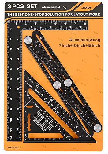 ZOTA Tool Gifts for Men, Multi Angle Measuring Ruler + Rafter Square 7' + L Framing Square 8'x12', Heavy Duty Aluminum Alloy with Laser Etched Markings