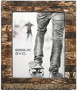 Eosglac Rustic 8x10 Wooden Picture Frame, Handmade with Real Birch Bark, Easel Back, Natural