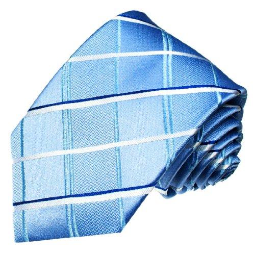 Lorenzo Cana - Premium Krawatte aus 100% Seide - Seidenkrawatte - blau weiß türkis hellblau kariert Karos - 77076