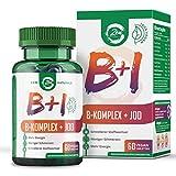 Vitamin B Komplex + Jod - Geeignet für Veganer – 60 Tabletten - alle 8 B-Vitamine mit B12, Biotin...
