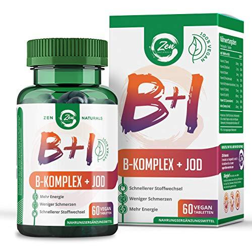 Vitamin B Komplex + Jod - Geeignet für Veganer – 60 Tabletten - alle 8 B-Vitamine mit B12, Biotin für das Haar, Folsäure (B9) und Jod aus Seetang – Laborgeprüft,...