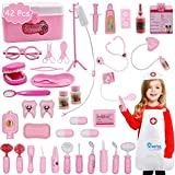 MorTime 42 Pcs Examine & Treat Play Set, Children's Medical Toy with Sturdy Tote Bag, Helps Children Develop Empathy, Pretend Doctor Educational Equipment, Pink