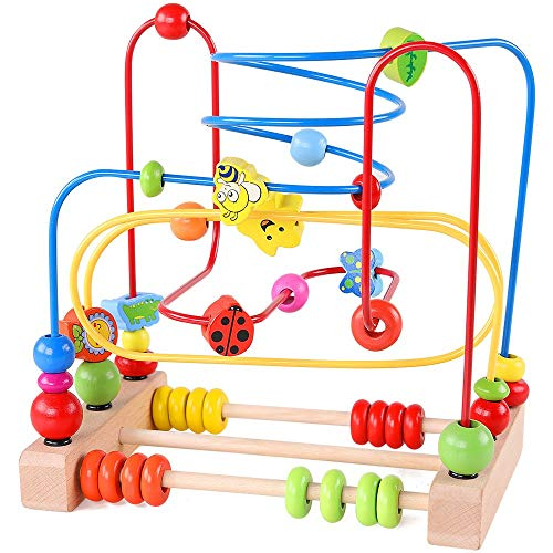 NA Bead Maze Roller Coaster Wooden Educational Circle Toy for Toddlers Colorful Roller Circle Toys for Kids Sliding Beads On Twists Wire Training Child Attention Count and Grasping Ability