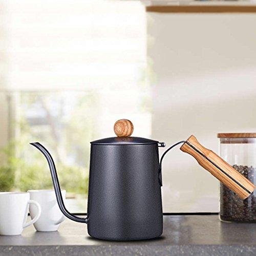 600mlGooseneckTeaKettleLongNarrow注ぎ口コーヒーメーカーwith木製ハンドル
