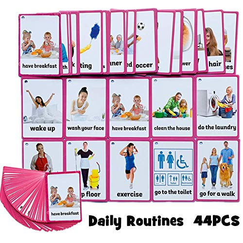SANCENT 45 PCS Daily Routines Cards- Learning Picture & Word Card Flashcards(English Word Learning Card & Pocket Size Flash Card for Children And Preschool),5.35x3.62in