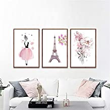 Rompecabezas de 1000 piezas, rompecabezas para niños, rompecabezas familiar, rompecabezas de cartón, juego de rompecabezas Chica nórdica en vestido floral rosa arte de la pared Torre Eiffel y pared