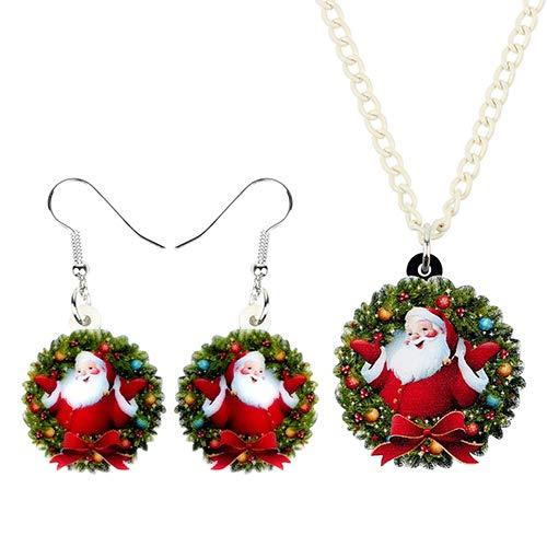 AdronQ Acrílico Navidad Nudo de Lazo Guirnalda Bola Conjunto de Joyas Collar Pendientes Mujeres Niñas Charms Festival
