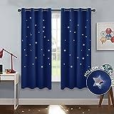 PONY DANCE Cortinas Habitacion Juvenil - Cortinas Docaraodas con Estrellas para Salon Moderno, 2 Uds, 132 x 158 cm, Azul