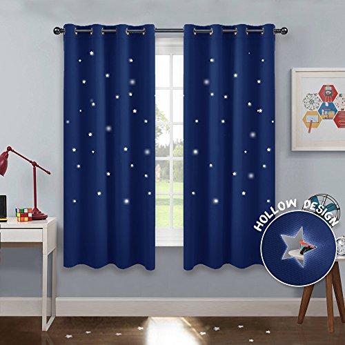 PONY DANCE Vorhang Kinderzimmer Junge - 2er Set H 158 x B 132 cm Sterne Vorhang Blickdicht Blau Thermo Gardinen für Licht Blockieren (Außer Hohlen Sternen) Ösenschal
