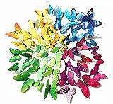 mundoGadget 48 Mariposas Decorativas 3D para Pared, 4 Colores, Varios Tamaños, con Imán y Adhesivo Removible